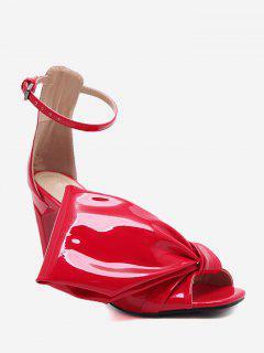 Open Toe High Heel Bowknot Sandals - Red 35