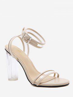 High Block Heel Lucid Strap Sandals - Apricot 36