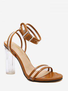 High Block Heel Lucid Strap Sandals - Brown 36