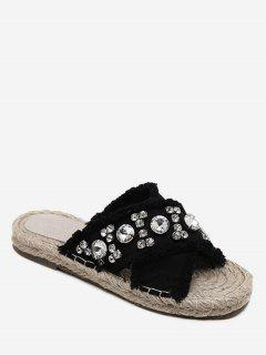 Rhinestone Decorate Cross Casual Slippers - Black 36