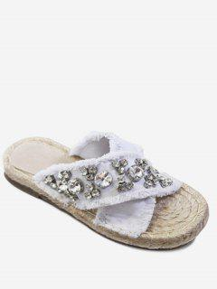 Rhinestone Decorate Cross Casual Slippers - White 36