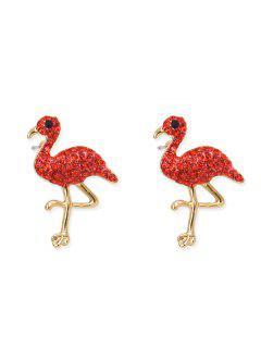 Lindos Diamantes De Imitación Flamingo Pendientes - Rojo