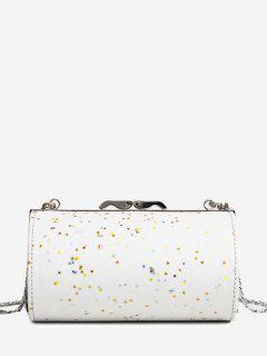 Glitter Cylinder Shaped Crossbody Bag - White