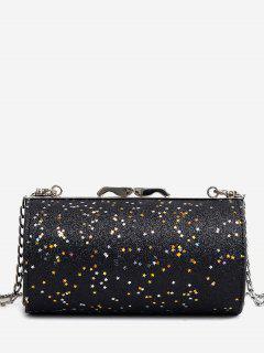 Glitter Round Shaped Crossbody Bag - Black