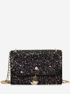 Sequined Metallic Crossbody Bag - Black