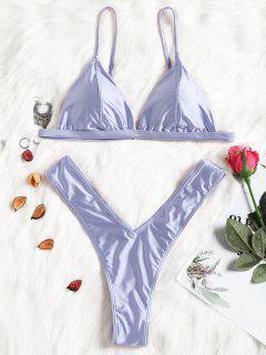Conjunto De Bikini De Tanga De Corte Alto Acolchado - Azul Piedra L