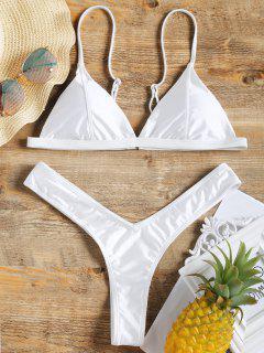 Padded High Cut Thong Bikini Set - White M