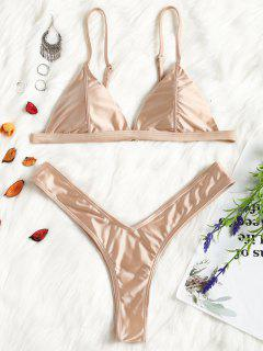 Padded High Cut Thong Bikini Set - Champagne M