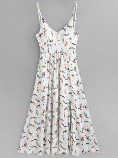 Floral Print Slit Cami Maxi Dress - White S