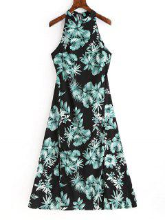 Floral Print Backless Sleeveless Dress - Black S