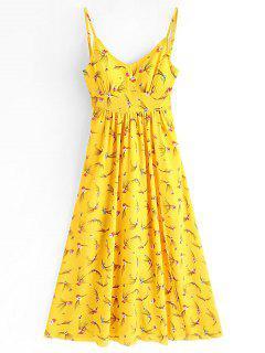Robe Longue Fendue Imprimée Florale à Bretelles - Jaune L