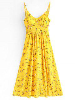 Vestido Maxi De La Raya De La Impresión Floral - Amarillo M