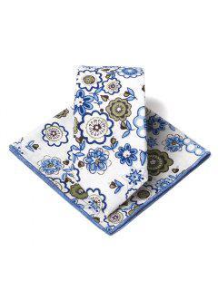 Ensemble De Mouchoir Cravate Motif Floral Unique Embelli - Bleu