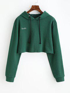 Letter Patched Drawstring Crop Hoodie - Green S
