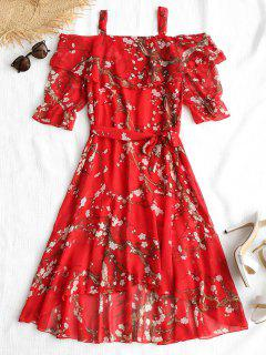Floral Print Belted High Low Dress - Red L