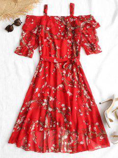 Vestido Alto Estampado Floral Con Cinturón - Rojo Xl