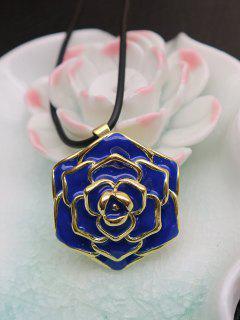 Enamel Rose Valentine's Day Alloy Pendant Necklace - Blue
