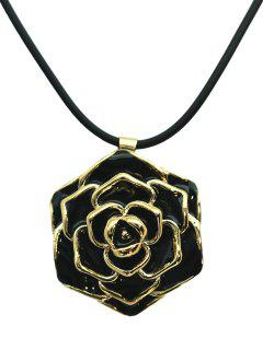 Enamel Rose Valentine's Day Alloy Pendant Necklace - Black