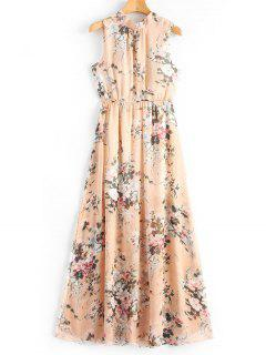 Open Back Slit Floral Print Maxi Dress - Floral L