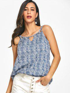 Cut Out Zigzag Print Cami Top - Deep Blue L