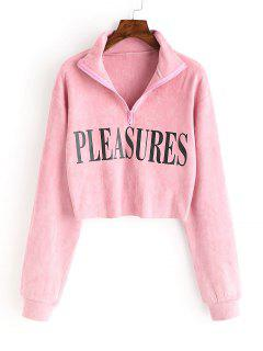Sweat-shirt En Faux Daim à Lettre  - Rose  S