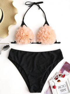 Stereo Flower Plus Size Bikini Set - Black 2xl