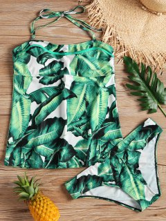 Plus Size Palm Leaf Padded Tankini Set - Green Xl