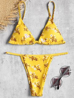 Tiny Floral Padded Bikini Top And Thong Bottoms - Yellow M