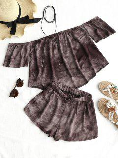 Tie Dye Off The Shoulder Top And Shorts - Cappuccino S