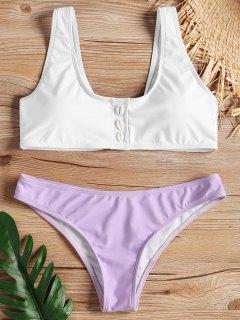 Two Tone Shell Bikini Set - Light Purple L