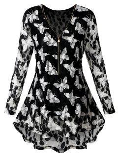 Plus Size Zipper Butterfly Pattern Lace Blouse - Black 3xl
