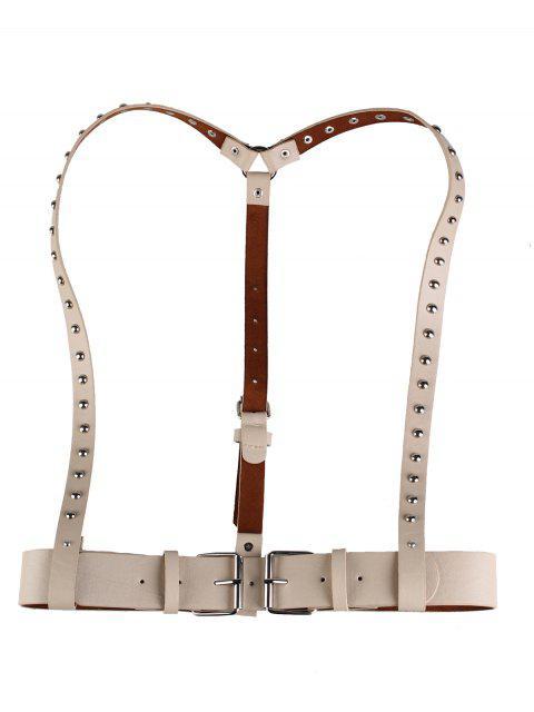 fashion Rivet Embellished Punk Harness Faux Leather Belt - KHAKI  Mobile