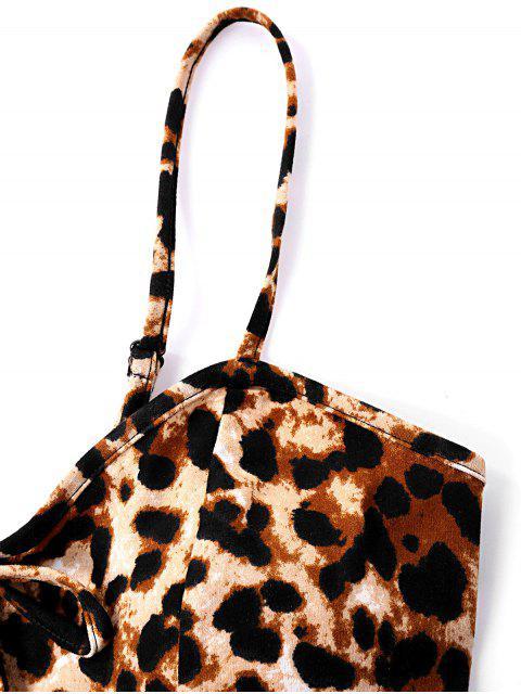 Body de leopardo de corte alto con correa de espagueti - Leopardo marrón M Mobile