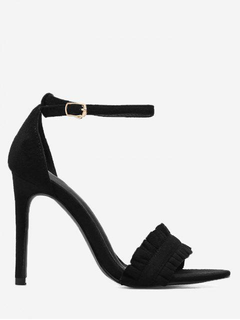 shop Stiletto Heel Ruffle Sandals - BLACK 35 Mobile