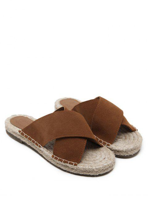 unique Whipstitch Cross Outdoor Casual Slippers - BROWN 40 Mobile