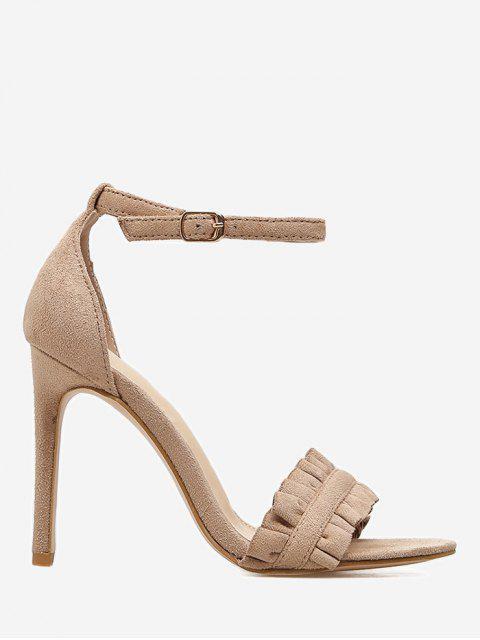buy Stiletto Heel Ruffle Sandals - APRICOT 38 Mobile