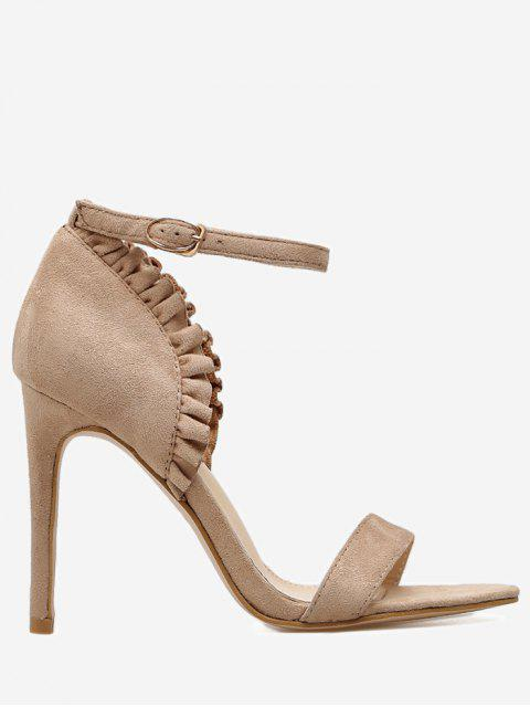 chic Ruffles Trim Ankle Strap Sandals - APRICOT 36 Mobile