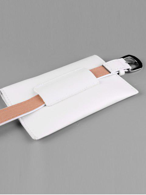 Extraíble Fanny Pack Faux Leather Skinny Belt - Blanco  Mobile