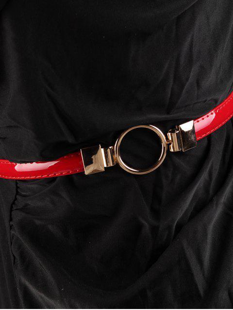 Cinturón pitillo adornado con hebilla redonda de metal - Rojo  Mobile