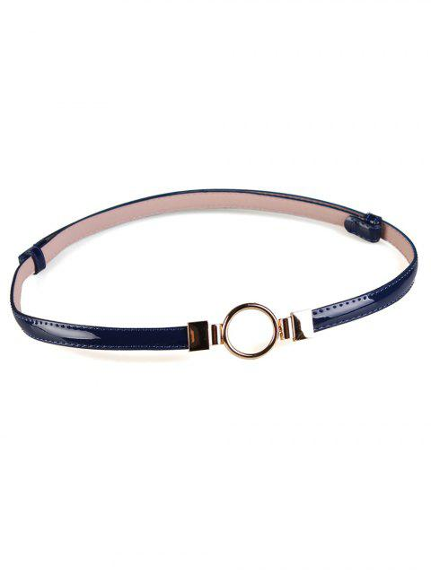trendy Metal Round Buckle Embellished Skinny Belt - BLUE  Mobile