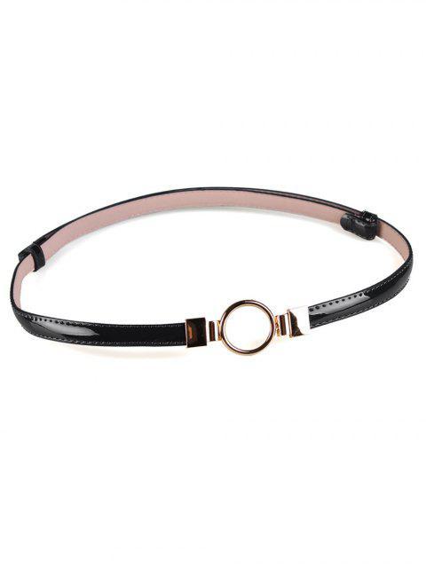 Cinturón pitillo adornado con hebilla redonda de metal - Negro  Mobile
