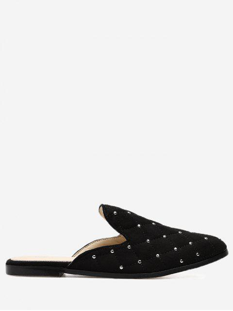 women's Almond Toe Studs Mules Shoes - BLACK 35 Mobile