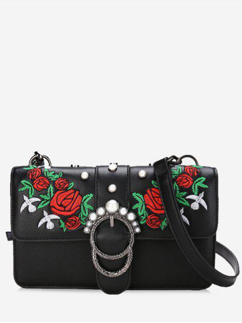womens Embroidery Faux Pearls Crossbody Bag - BLACK  Mobile