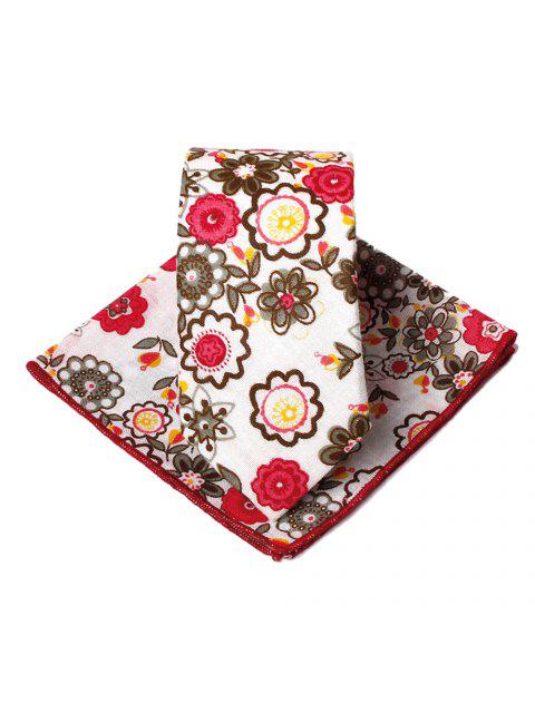 outfit Unique Floral Pattern Embellished Necktie Handkerchief Set - RED  Mobile