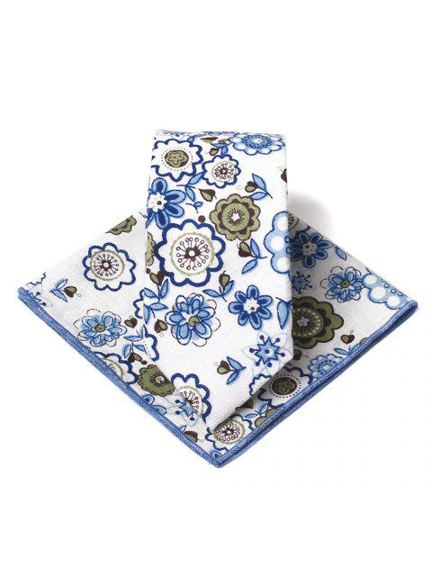 outfits Unique Floral Pattern Embellished Necktie Handkerchief Set - BLUE  Mobile