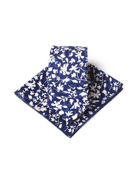 shop Simple Floral Pattern Printed Necktie Handkerchief Set - BLUE  Mobile