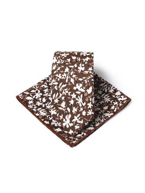 shops Simple Floral Pattern Printed Necktie Handkerchief Set - BROWN  Mobile