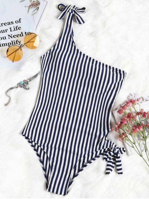 Atado a rayas de un hombro traje de baño - Raya L Mobile