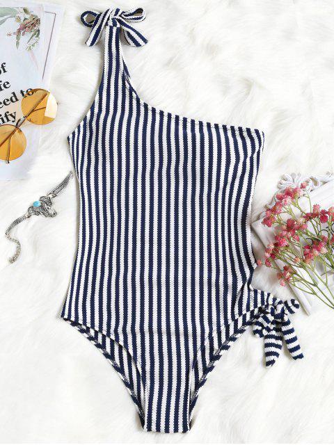 Atado a rayas de un hombro traje de baño - Raya M Mobile