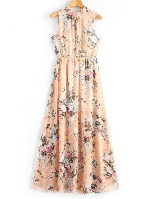 Robe Longue Imprimée Florale à Fente à Dos Ouvert - Floral XL Mobile